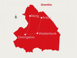 Fietsvakantie Westerbork - Dwingeloo - Norg - Anloo